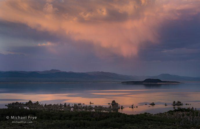 Clouds, tufa, and Negit Island at sunset, Mono Lake, CA, USA
