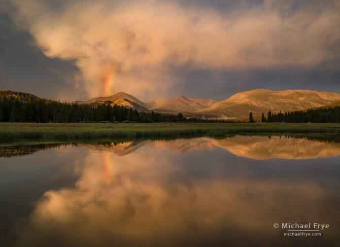 Rainbow and sunset clouds, Tuolumne Meadows, Yosemite NP, CA, USA