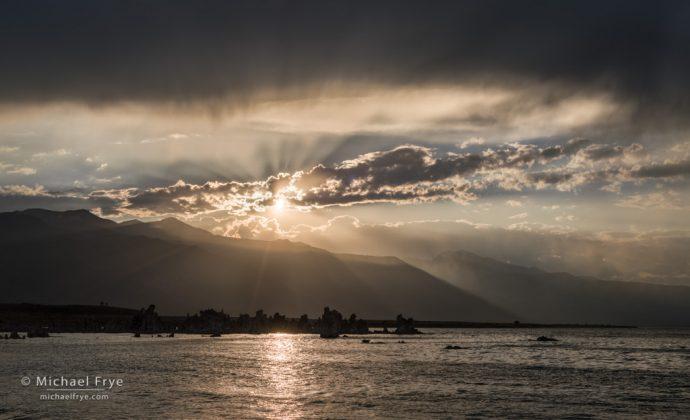 Sun setting over Mono Lake, CA, USA
